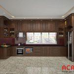 Mẫu tủ bếp gỗ sồi Nga phun màu giả óc chó sang trọng, tiện nghi và đẳng cấp