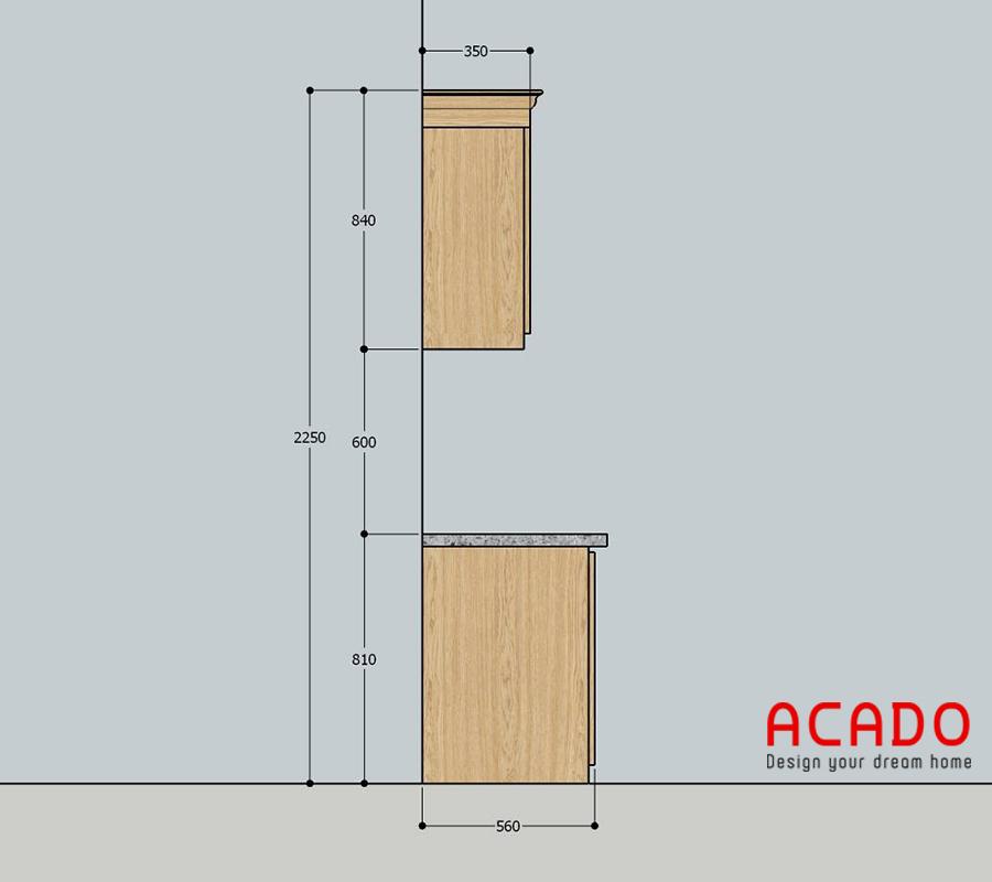 Kích thước tủ bếp tiêu chuẩn tại Acado