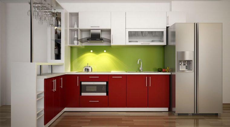Mẫu tủ bếp Mealmine có quầy bar màu trắng-đỏ thể hiện được cá tính của gia chủ
