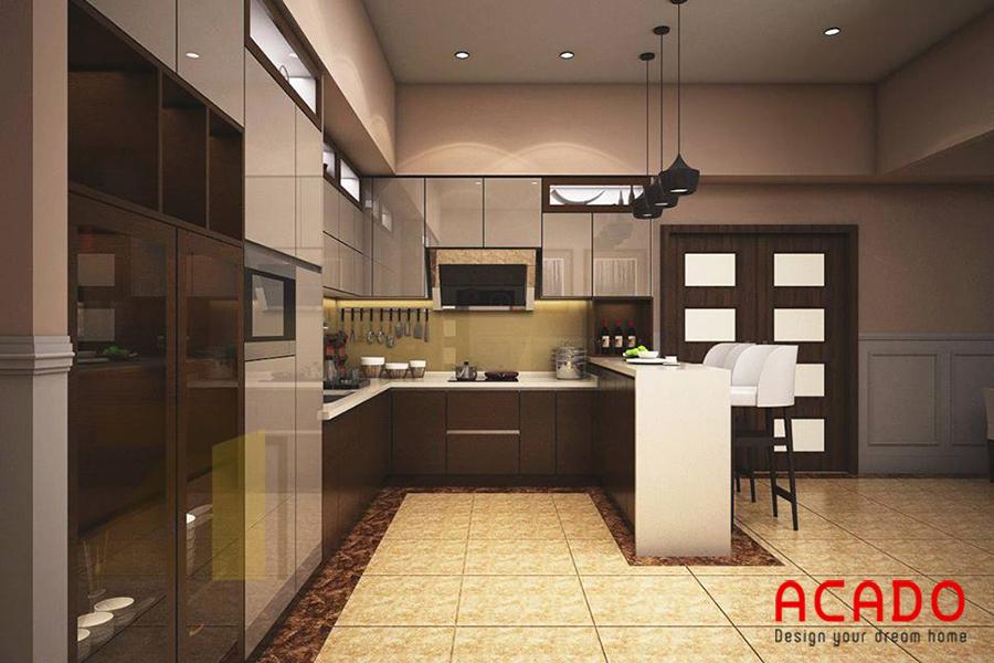 Mẫu tủ bếp Acrylic có bàn đảo mang lại không gian bếp hiện đại và tiện dụng