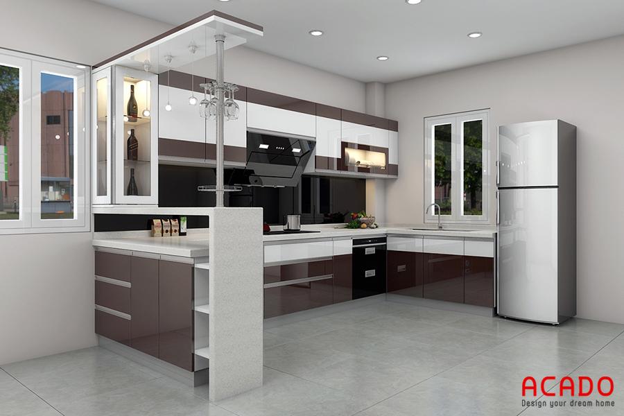 Với không gian bếp rộng rãi thì mẫu tủ bếp Acrylic có quầy bar là sự lựa chọn hoàn hảo
