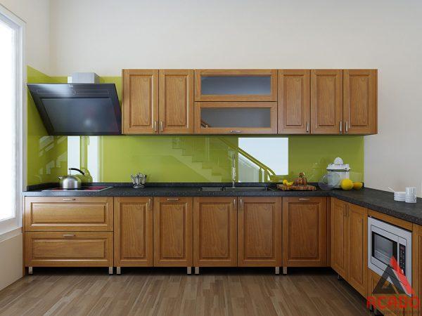 Mẫu tủ bếp inox cánh gỗ sồi Mỹ hình chữ L tận dụng không gian góc của phòng bếp