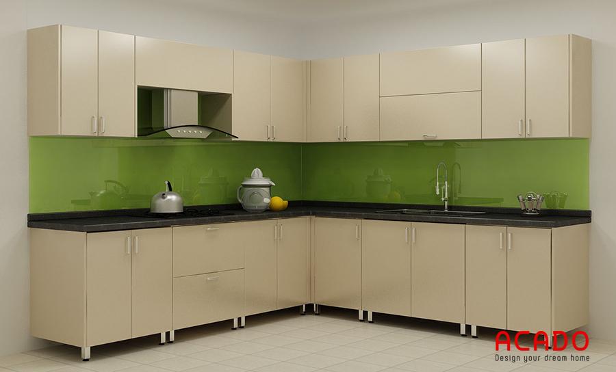 Mẫu tủ bếp với thiết kế thùng inox, cánh melamine đem lại không gian bếp hiện đại và tiện nghi