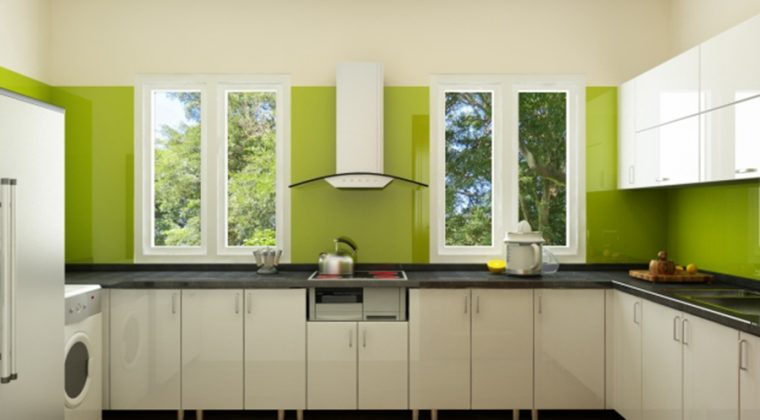 Mẫu tủ bếp với sự kết hợp từ inox và gỗ Acrylic bóng gương tạo nên không gian bếp hiện đại, trẻ trung