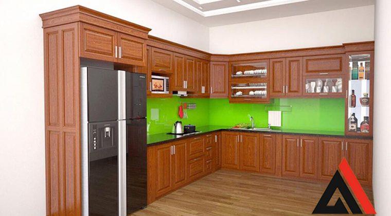 Mẫu tủ bếp kết hợp tủ lạnh hình chữ L bằng gỗ Xoan Đào sang trọng