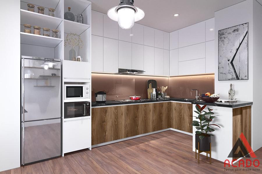 Tủ lạnh được thiết kế cùng bộ tủ Laminate đẹp và tiện dụng