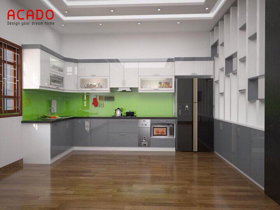 Tủ bếp Acrylic bóng gương hiện đại kết hợp với tủ lạnh tiện dụng