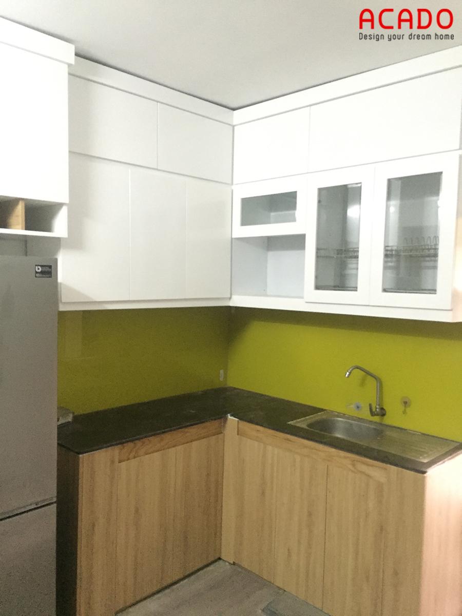 Mẫu tủ bếp Melamine nhỏ gọn cho không gian bếp nhỏ hẹp nhà anh Tuấn Anh-Yên Nghĩa