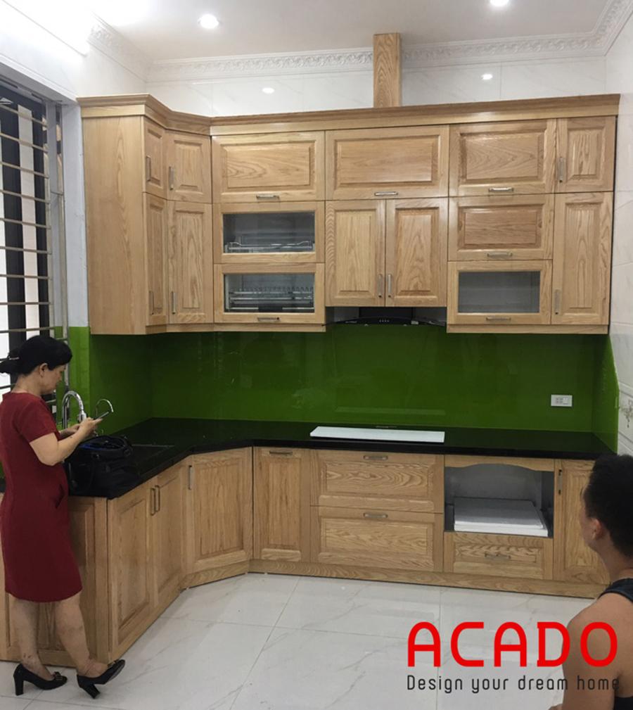Bộ tủ bếp inox gỗ tự nhiên đã hoàn thành.