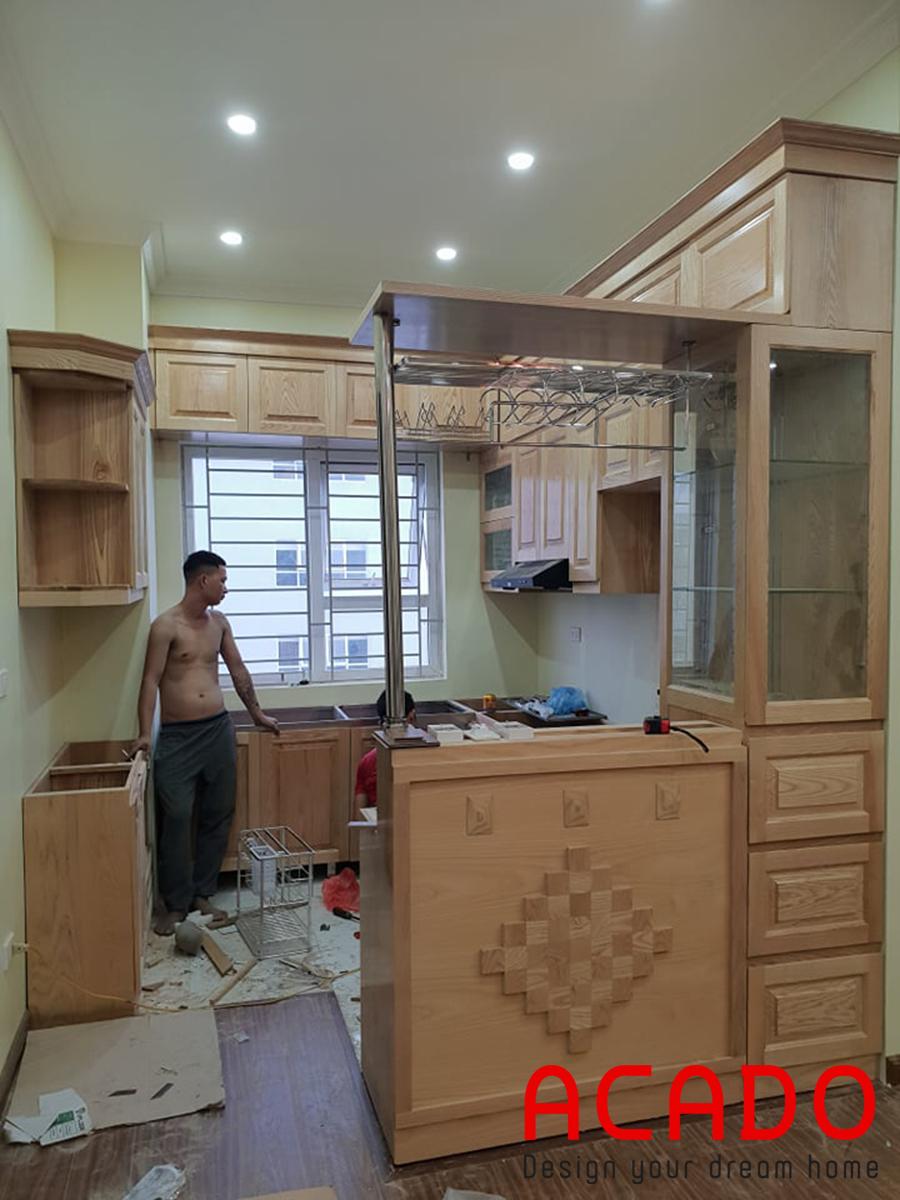 Thi công tủ bếp chữ U tại Thanh Hà gia đình chú Giang.