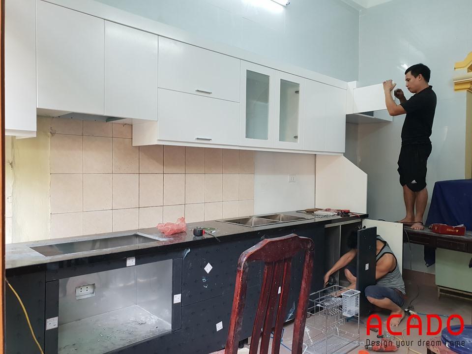 Thi công tủ bếp tại Quang Trung.