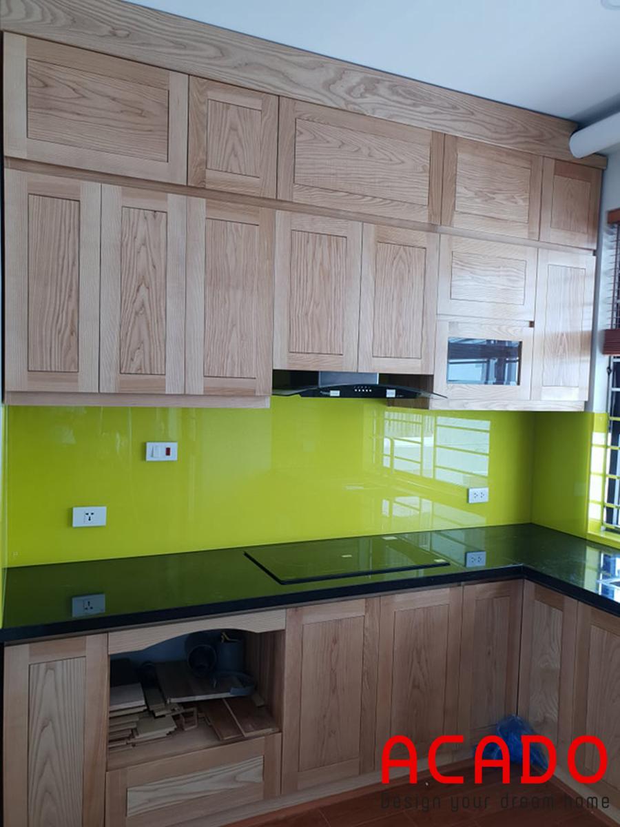 Và đây là hoàn thiện của bộ tủ bếp gỗ sồi tự nhiên.
