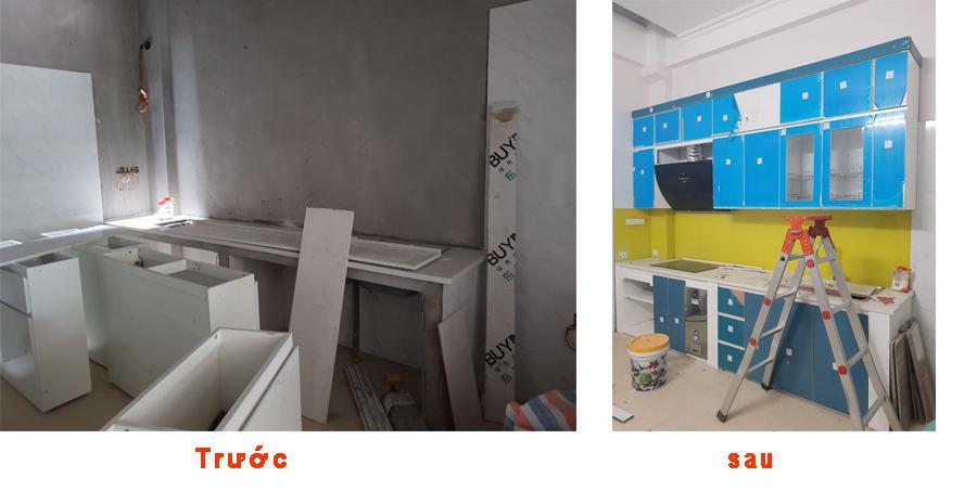 Hình ảnh gian bếp trước và sau khi thi công tủ bếp tại Văn Khê.