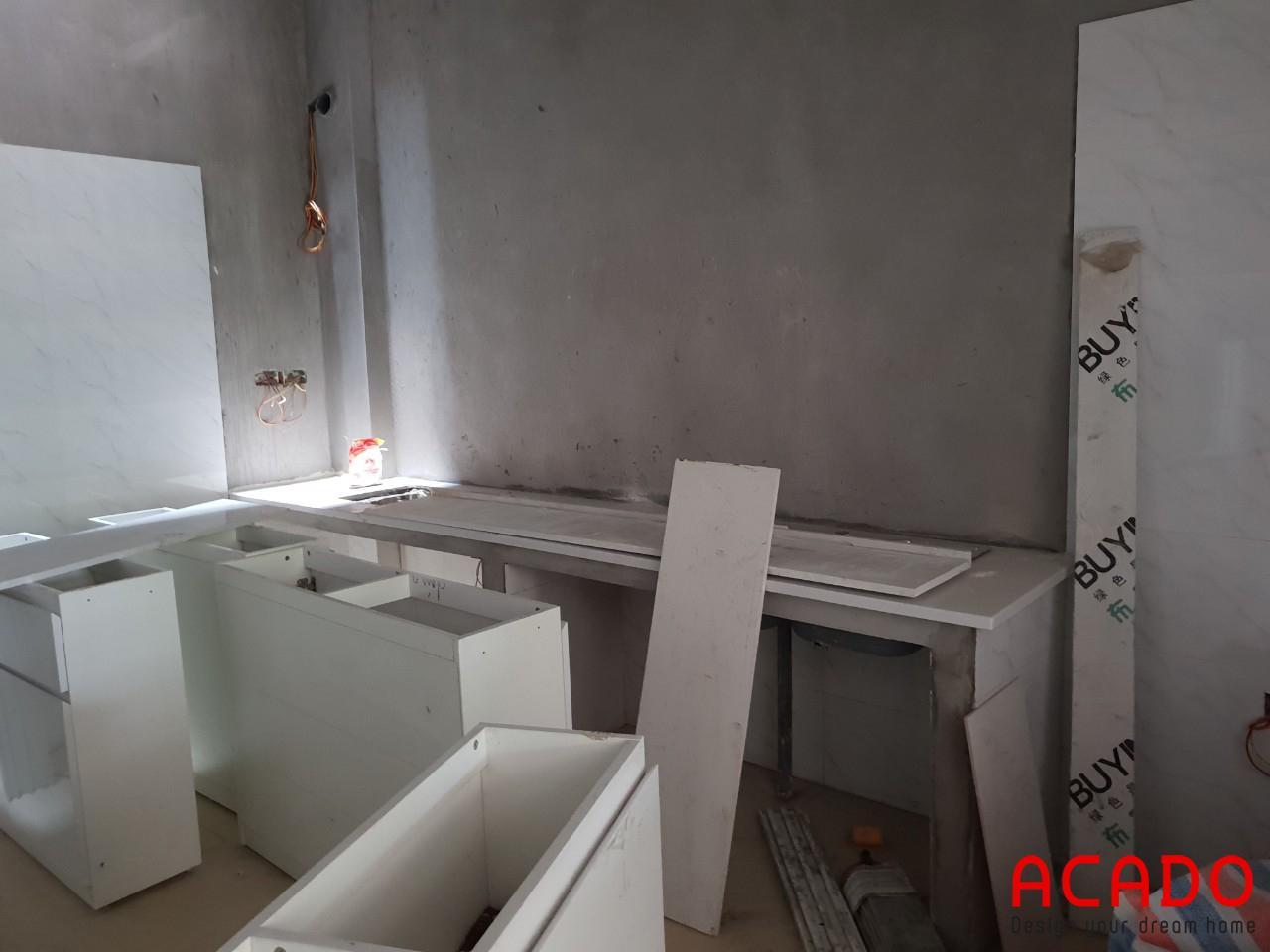 Trước khi thi công tủ bếp tại Văn Khê.