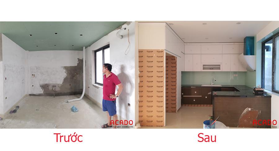 So sánh trước và sau khi thi công đóng bếp tại Lê Trọng Tấn.