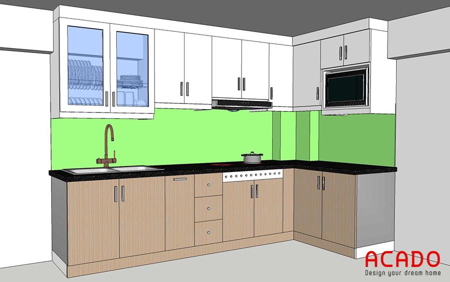 Bản vẽ thiết kế phù hợp với không gian bếp của gia đình chị Tú.