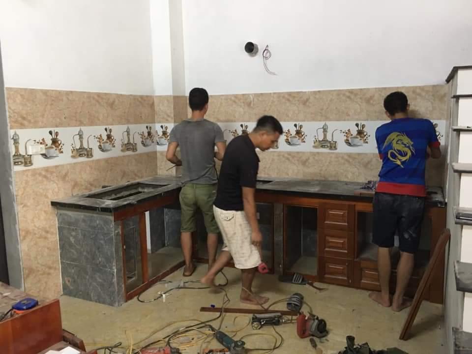 Những bước đầu trong quá trình thi công đóng tủ bếp tại Yên Nghĩa.
