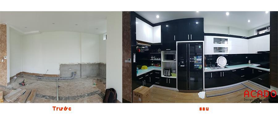 Trước và sau khi thi công hạng mục tủ bếp.