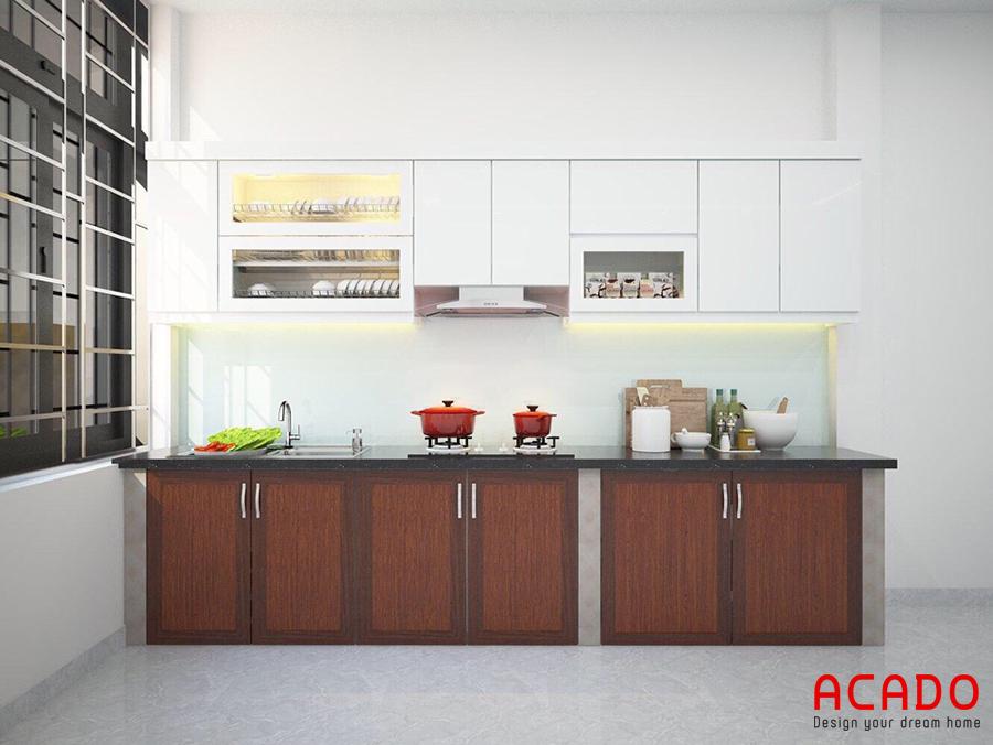Phương án tủ bếp được đưa ra sau khi Acado khảo sát và thảo luận với gia đình.