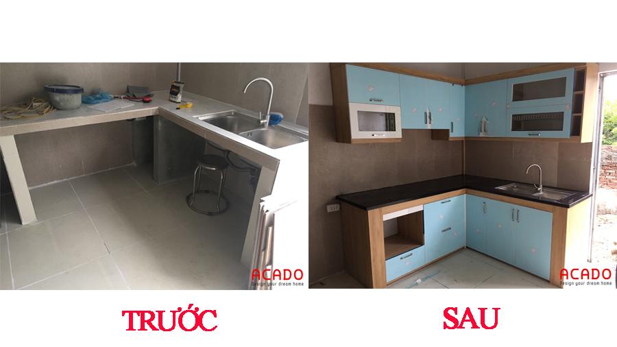 Gian bếp có một diện mạo hoàn toàn mới sau khi lắp đặt tủ bếp.
