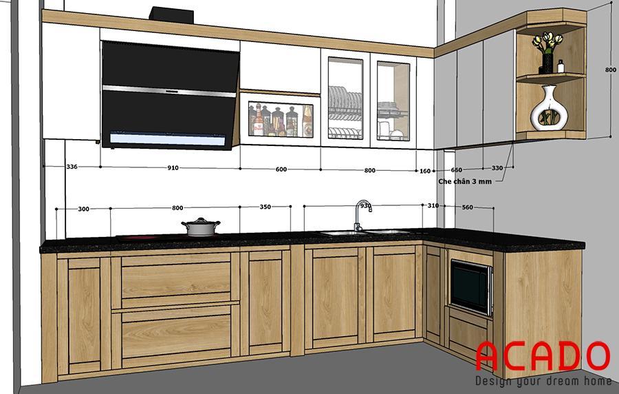 Phương án thiết kế phù hợp với gian bếp.