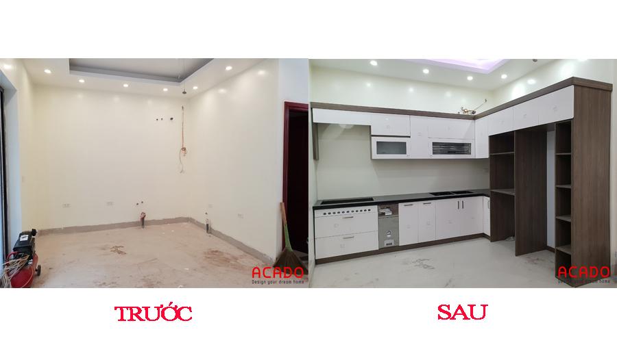 Gian bếp thay đổi hoàn toàn sau khi thi công lắp tủ bếp.