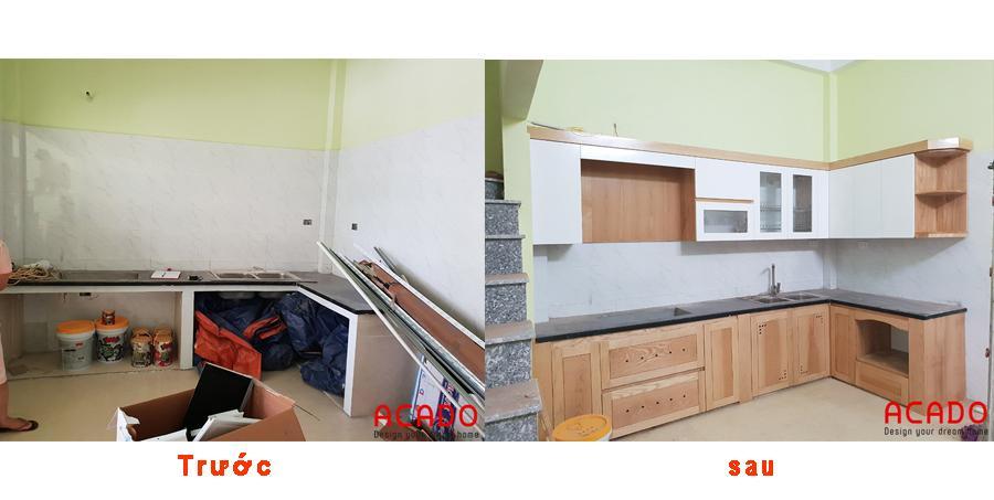 Trước và sau khi thi công tủ bếp tại Lê Trọng Tấn.