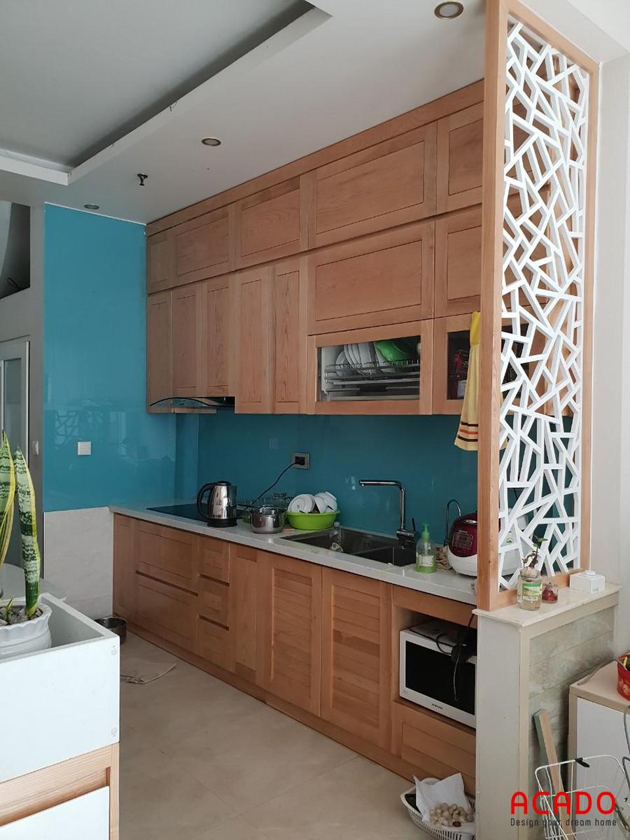 Căn bếp sau khi hoàn thành thi công tủ bếp tại Nam Từ Liêm.