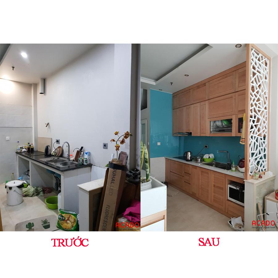 Căn bếp thay đổi hoàn toàn sau khi thi công lắp đặt tủ bếp.