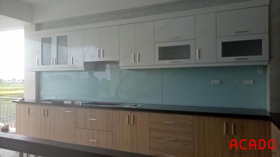 Căn bếp sau khi hoàn thành thi công tủ bếp tại Sóc Sơn.