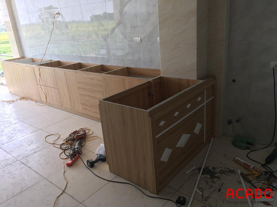 Những bước đầu của quá trình thi công đóng tủ bếp tại Sóc Sơn.