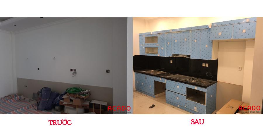 So sánh trước và sau khi thi công tủ bếp tại Thanh Xuân ta có thể thấy căn bếp đã thay đổi hoàn toàn so với lúc ban đầu.
