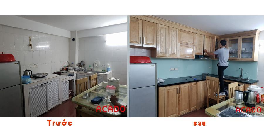 Trước và sau khi thi công tủ bếp tại Tô Hiệu.