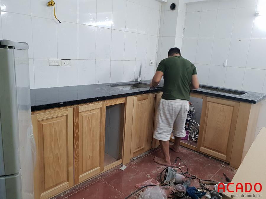 Những bước đầu tiên trong quá trình thi công tủ bếp tại Tô Hiệu