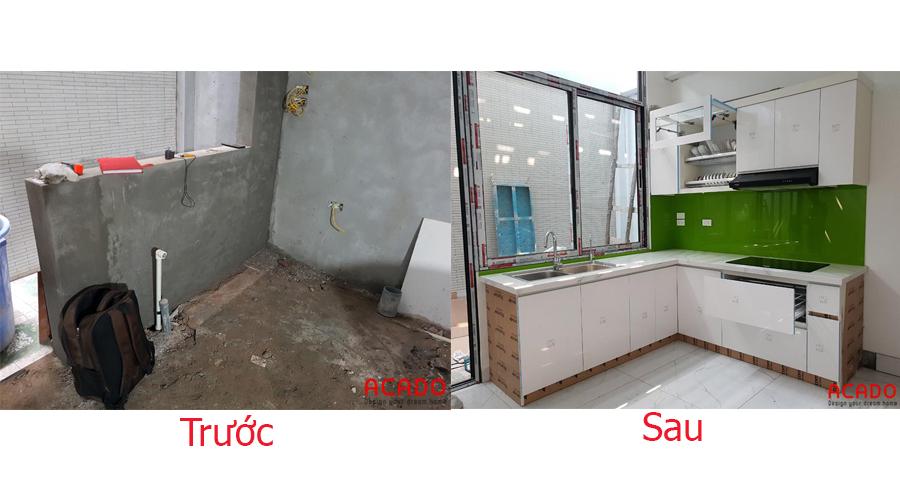 So sánh trước và sau khi thi công tủ bếp tại Trần Phú.
