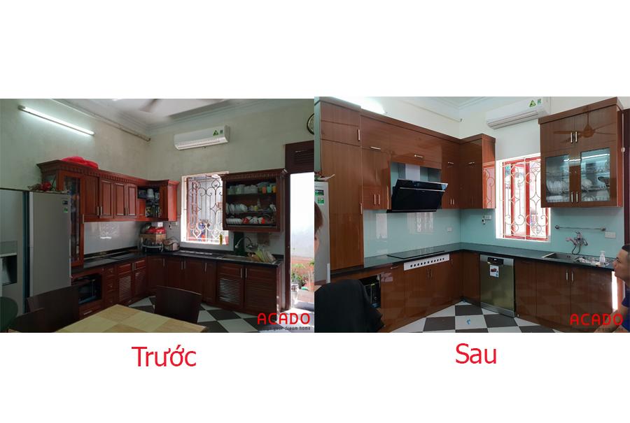 Trước và sau khi thi công tủ bếp tại Trúc Sơn.