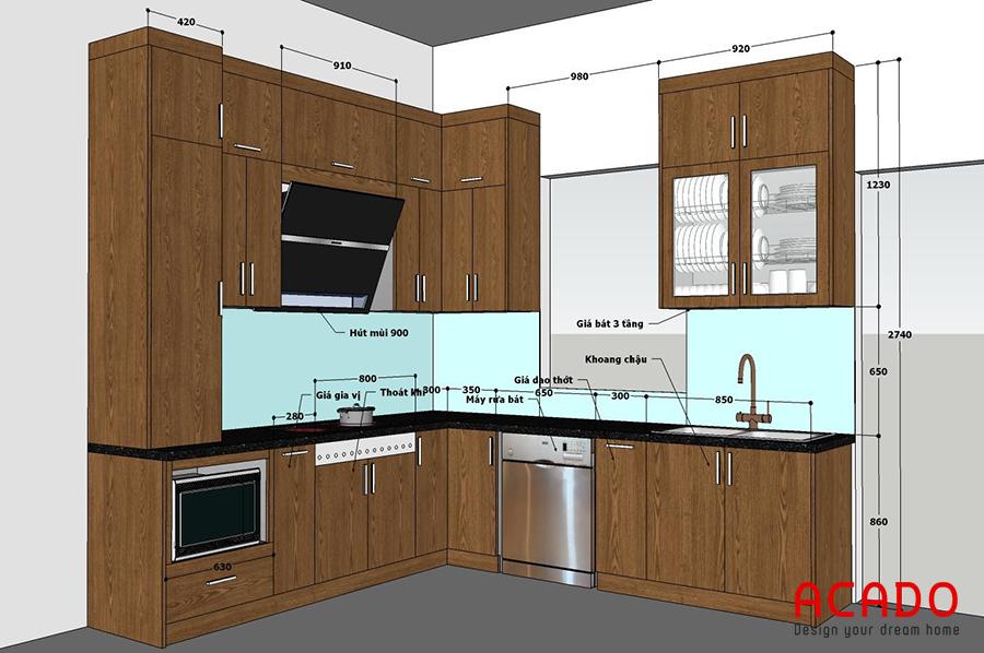 Bản vẽ thiết kế Acado đưa ra trước khi thi công tủ bếp tại Trúc Sơn.