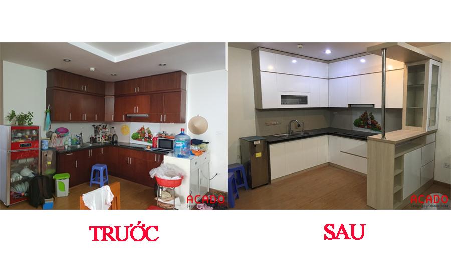 So sánh trước và sau khi thi công tủ bếp tại Văn Phú.