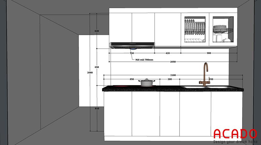 Bản vẽ thiết kế tủ bếp của gia đình anh Khanh được đặt ra.