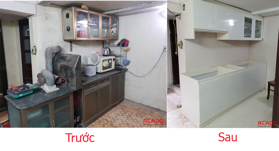 Sự thay đổi bất ngờ trước và sau khi thi công tủ bếp tại Yết Kiêu.