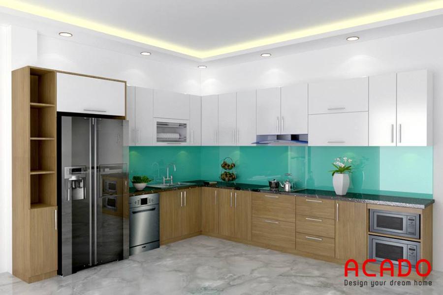 Mẫu tủ bếp Laminate tạo cho người dùng cảm giác thoải mái.
