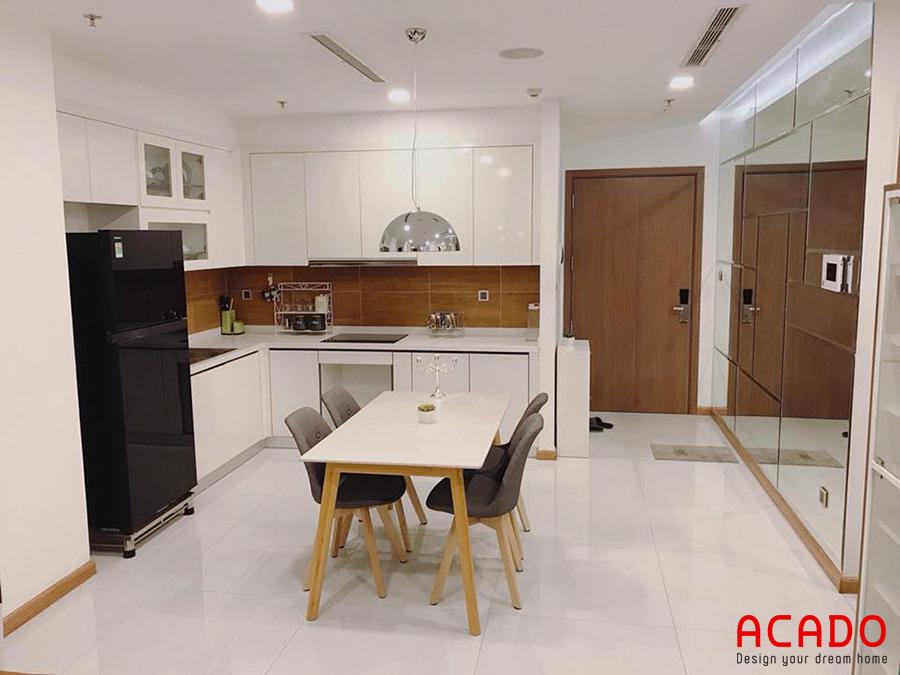 Tủ bếp acrylic trẻ trung và hiện đại.