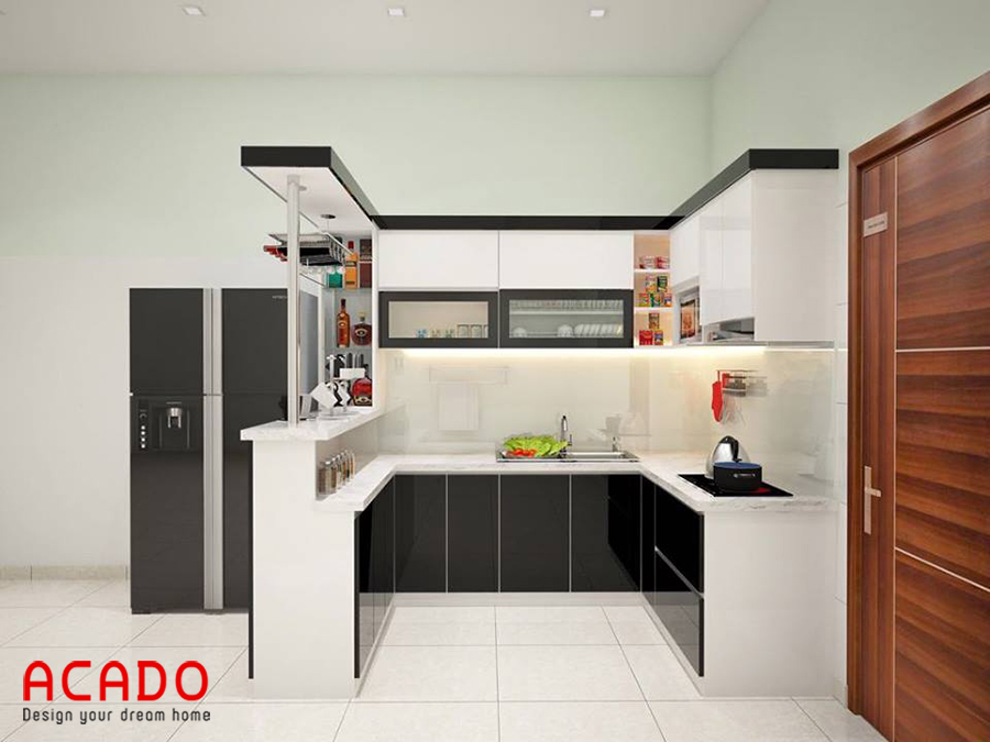 Mẫu tủ bếp kết hợp quầy bar thuận tiện nấu nướng và dễ dàng vệ sinh.