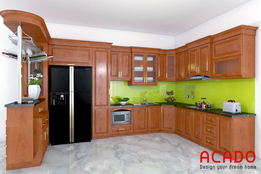 Tủ bếp được thiết kế có quầy bar đẹp mắt.