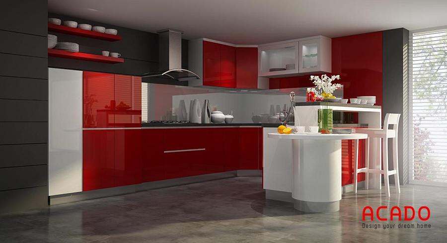 Tủ bếp thùng và khung inox, cánh acylic tông màu trắng, đỏ hiện đại và cá tính.