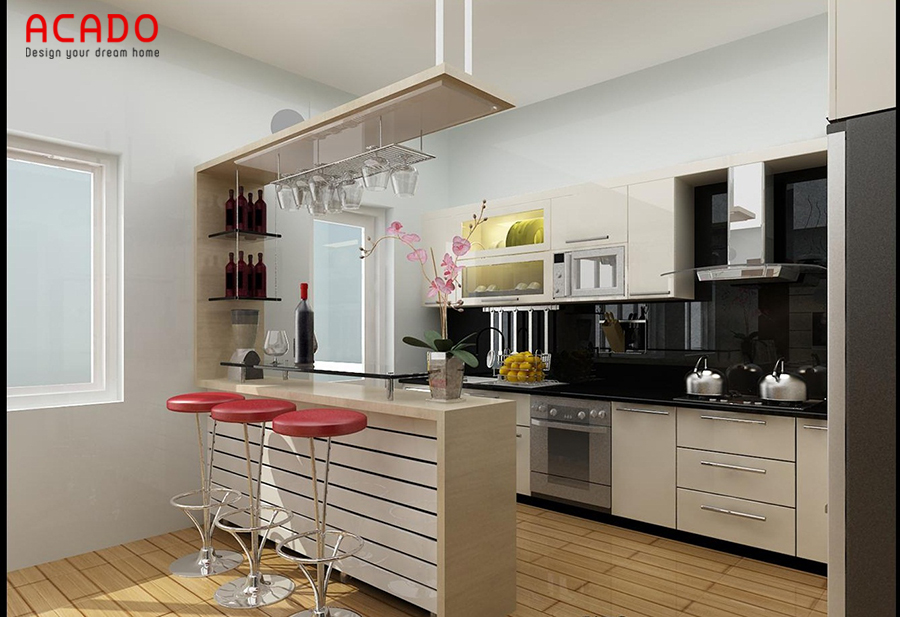 Tủ bếp kết hợp quầy bar chất liệu gỗ công nghiệp cho những người yêu thích phong cách hiện đại.