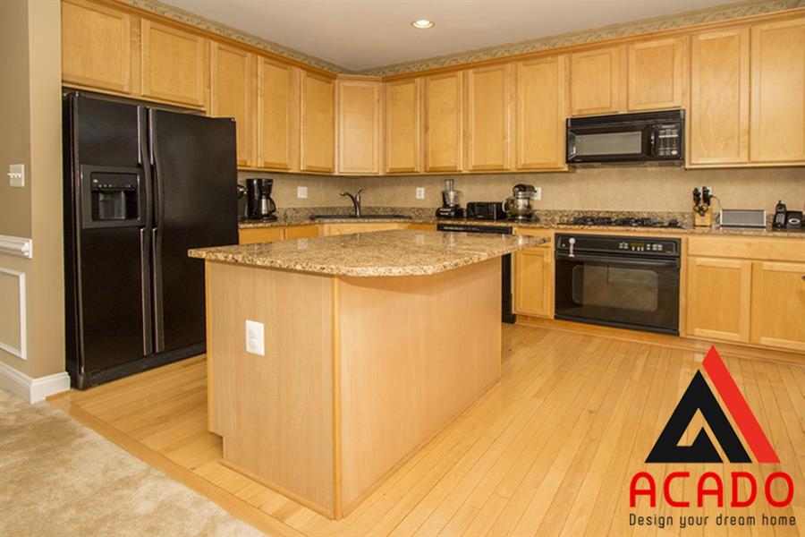 Tủ bếp tận dụng được không gian góc sang trọng , tinh tế