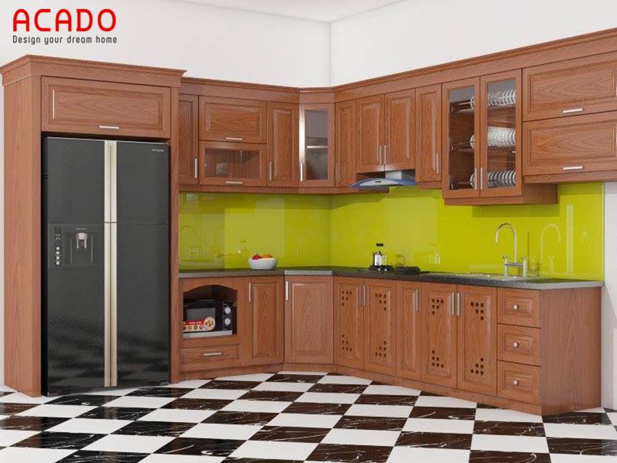 Tủ bếp dáng chữ L được rất nhiều gia đình ưu thích lựa chọn.