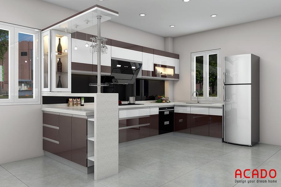 Tủ bếp kết hợp quầy bar một không gian thư giãn hoàn hảo.