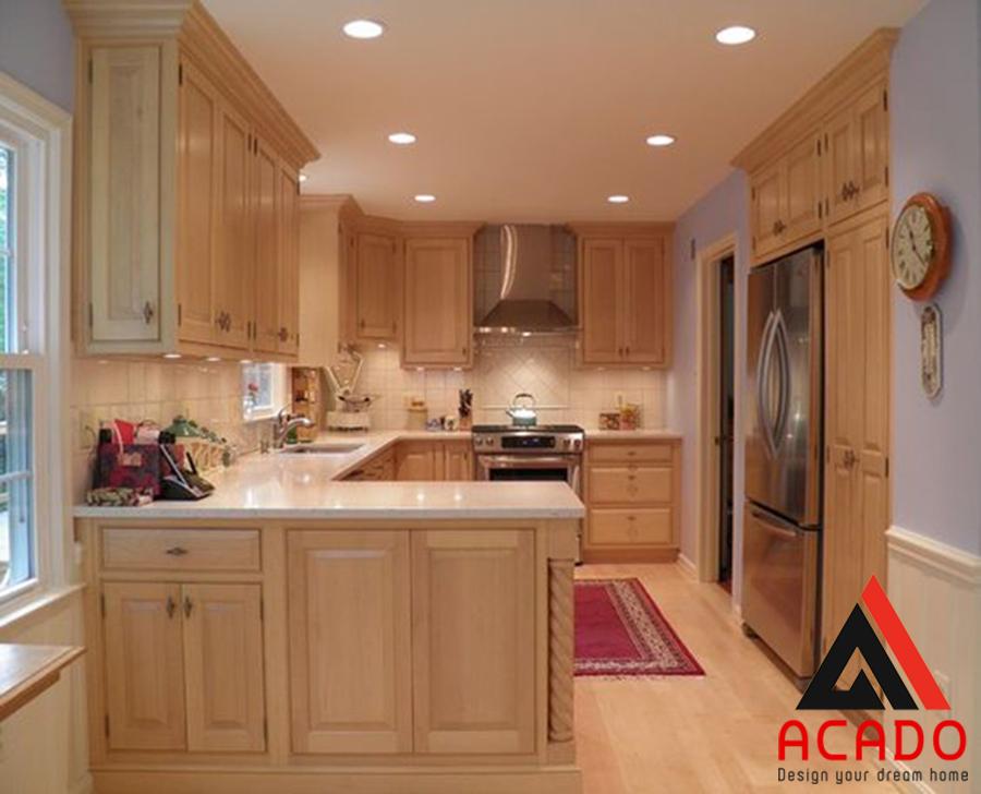 Tủ bếp gỗ sồi Nga chữ U cho nhà bếp có diện tích rộng
